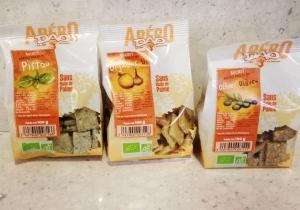 Apero snacks:  flavors: - olive  - onion - cumin - tomato/basil - nori/sesam - rosemary