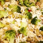veg. fricassee - edamame - rice - broccoli - mushrooms