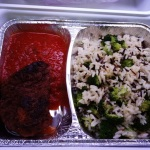 Daily special: wild rice, broccoli, veggie bonanza steak with a tomato sauce