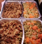 Daily special: peas & carrots, basmati rice, seitan with a teriyaki sauce