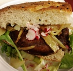 Portobello burger on Turkish bread