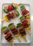 BBQ skewer: oregano tofu, veg.sausage and shoyu seitan