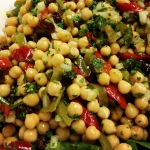 Chickpea Salad: bell peppers, raisins cilantro and onion