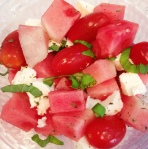 Watermelon, mozzarella and cherry tomato salad