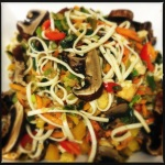 Udon noodles, portobello mushrooms, veggies with a tamari sauce