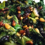 Kale with pine nuts and raisins