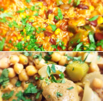 Top: veggie chilli - Bottom: seitan stew