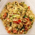 My favorite quinoa recipe: lots of cilantro and mint, tomato, radishes, scallions, cucumber, nice olive oil and some red wine vinegar, fleur de sel and black pepper